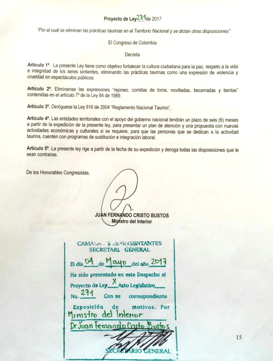 colombie PL 271